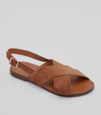 Wide Fit Tan Leather Cross Strap Sandals