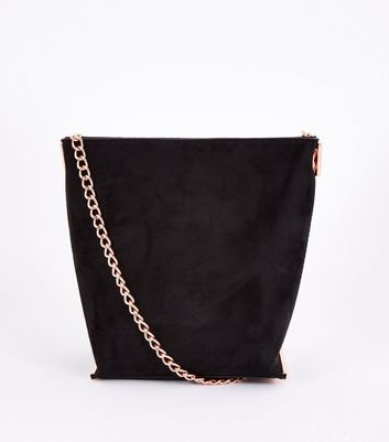 Black Suedette Mini Bucket Chain Shoulder Bag