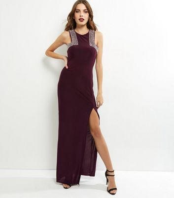 AX Paris Dark Purple Embellished Maxi Dress