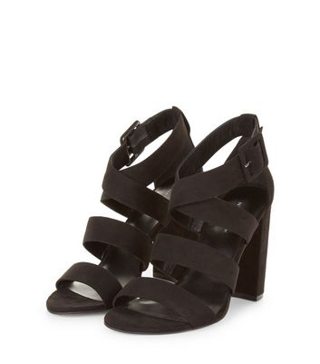 Black Suedette Wide Multi Strap Heels