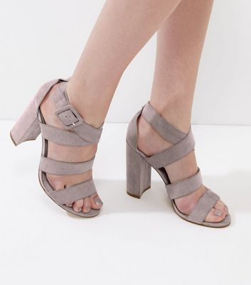 Grey Suedette Wide Multi Strap Heels