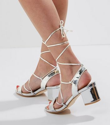 Silver Mirror Tie Up Ankle Strap Sandals