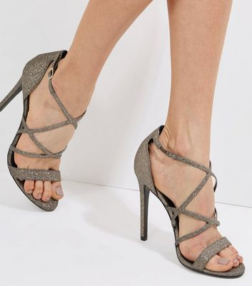 Bronze Glitter Multi Strap Heeled Sandals