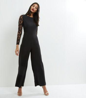 Mela Black Lace Sleeve Jumpsuit