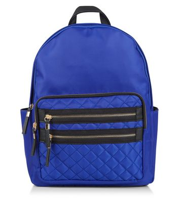 Blue Quilted Pocket Front Backpack
