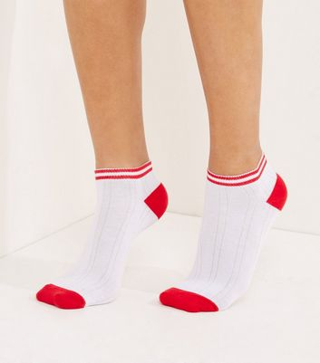 White Contrast Trim Ribbed Trainer Socks