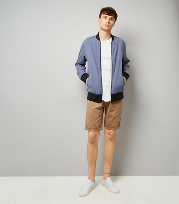 Chino-Shorts schmalem Bein in Beige