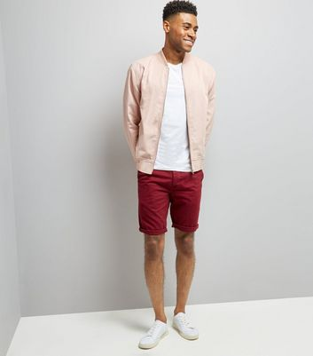 Burgundy Slim Leg Chino Shorts