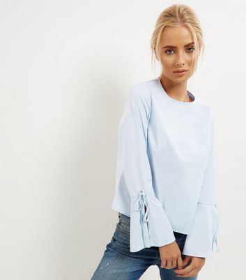 Blue Tie Back Bell Sleeve Top