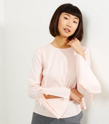 Shell Pink Flared Tie Sleeve Top