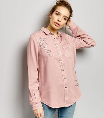 Shell Pink Floral Embroidered Long Sleeve Shirt