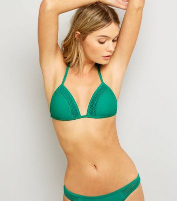 Green Crochet Trim Bikini Top