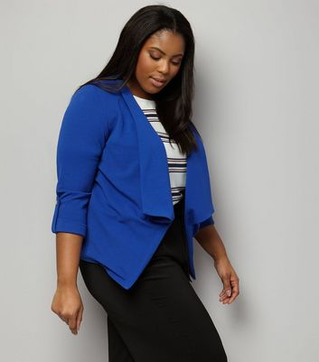 Curves Blue Crepe Rolled Sleeve Waterfall Blazer