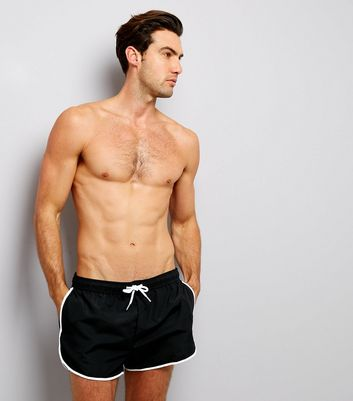 Black Contrast Trim Swim Shorts