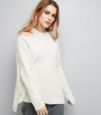 White Cut Out Shoulder Jumper