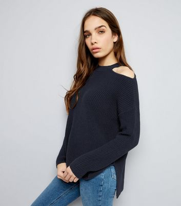 Navy Cut Out Shoulder Jumper