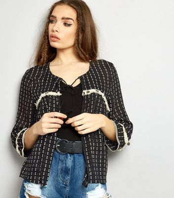 Brave Soul Black Patterned Fray Seam Open Front Blouse