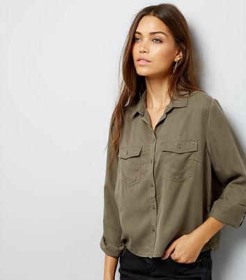Khaki Double Pocket Cropped Shirt