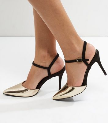 Gold Suedette Trim Ankle Strap Pointed Heels
