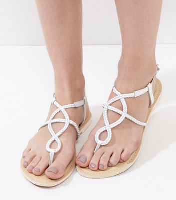 Wide Fit White Leather Plaited Sandals