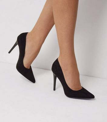 Black Suedette Matte Heel Pointed Court Shoes