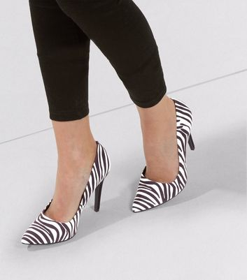 Black Zebra Print Suedette Matte Heel Pointed Court Shoes