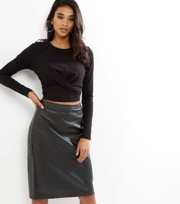 Black Leather-Look Seam Trim Pencil Midi Skirt