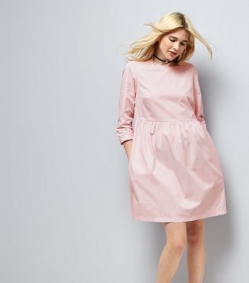Mid Pink Cotton Smock Dress