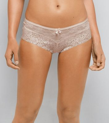 Shell Pink Lace Brazilian Briefs
