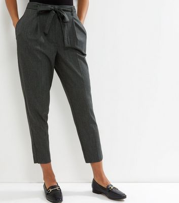 Dark Green Tie Waist Cropped Trousers
