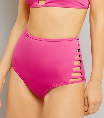 Pink Lattice Side High Waist Bikini Bottoms