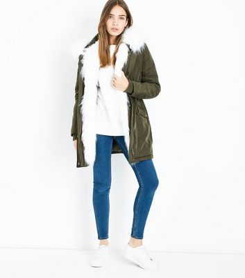 Olive Green Faux Fur Lined Hooded Parka