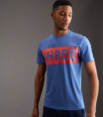 Blue Shred Slogan Sports T-Shirt
