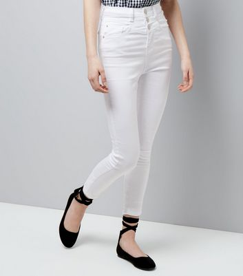 Teens White High Waist Skinny Jeans