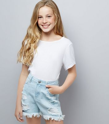 Teens Pale Blue Ripped Denim Shorts