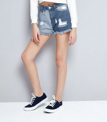 Teens Blue Patch Ripped Denim Shorts