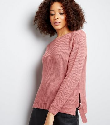 Deep Pink D Ring Belt Ribbed Jumper