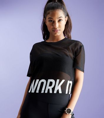 Black Mesh Work It Print Sports Crop Top