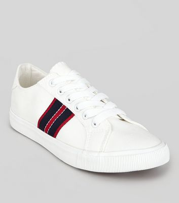 White Contrast Stripe Tape Trainers