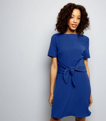 Tall Blue Tie Front A-Line Dress
