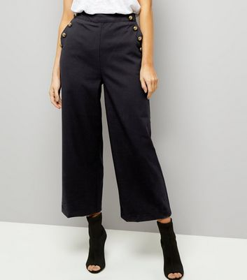 Tall Navy Button Side Wide Leg Trousers