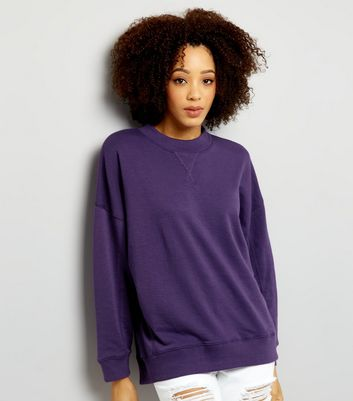 Purple Balloon Sleeve Sweater