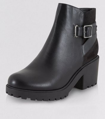 Teens Black Chunky Buckle Strap Boots