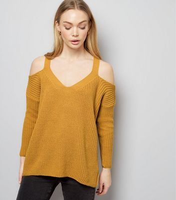 Petite Yellow Ribbed V Neck Cold Shoulder Jumper