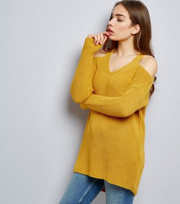 Tall Yellow Ribbed V Neck Cold Shoulder Jumper