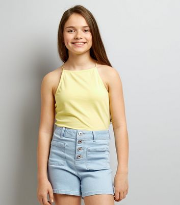 Teens Pale Blue High Waist Denim Shorts