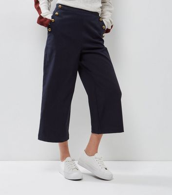 Petite Navy Button Side Wide Leg Cropped Trousers
