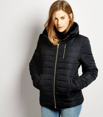 Black Fitted Padded Puffer Jacket | New Look