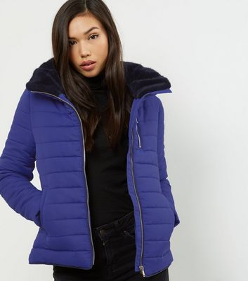 Blue Fitted Padded Puffer Jacket