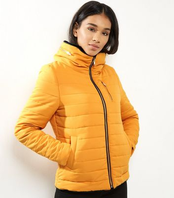 Yellow Fitted Padded Puffer Jacket